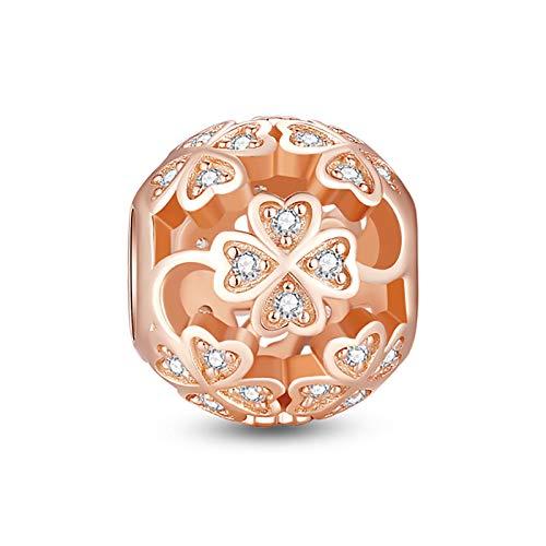 Glamulet Four Leaf Clover Rose Gold Charm 925 Sterling Silver Round Shape Beads Fits for Bracelet