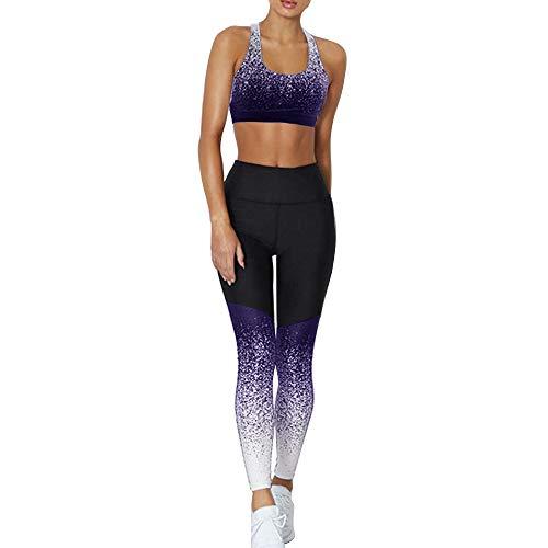 Dihope - Conjunto de ropa de deporte para mujer - 2 piezas, chándal de verano, top ajustado push up, pantalones cortos de deporte, elástico, fitness, jogging, yoga azul marino 38