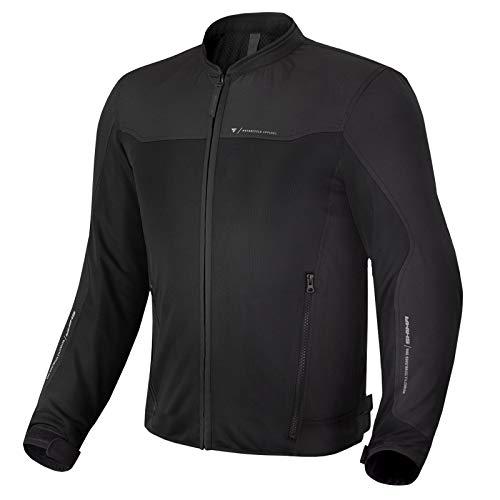 SHIMA OPENAIR Chaqueta Moto Hombre, Ligera y Transpirable Cazadora Moto Mesh de Verano Hombre con CE Espalda, Hombros, Codos Protecciones, Ajuste de la Anchura (Negro, XL)