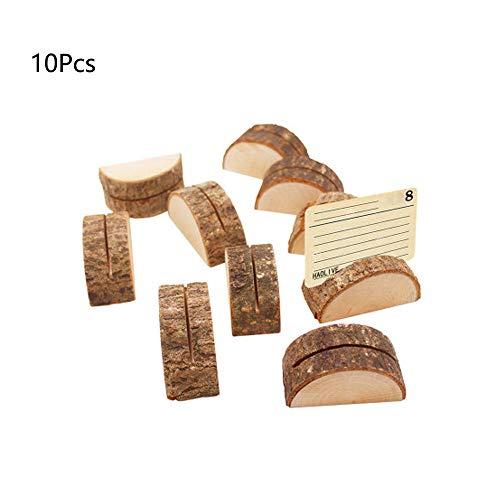 Sprießen 10PCS Halbzylinderform Dekoration, Holz Hochzeit Tischnummer Standplatz Name Memo Kartenhalter Kreative Tischkarte Hotel/Home Tischdekoration/Tischkartenhalter Fotohalter