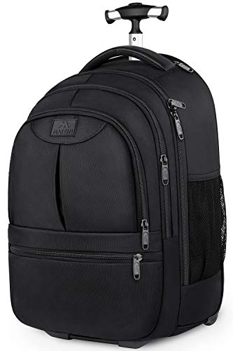 Wheeled Backpack for Adults,Large Rolling Backpacks for Travel,Wheeled Laptop Backpack for Women and Men,Water Resistant Roller College School Bookbag,Carry on Luggage Backpack,Black