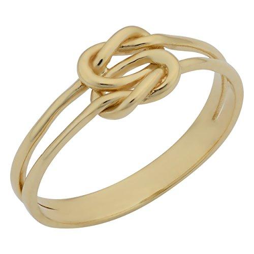 Kooljewelry 14k Yellow Gold High Polish Double Love Knot Ring (Size 9)