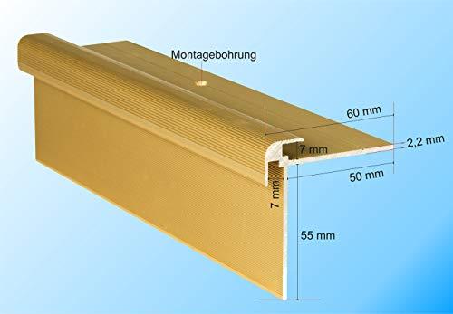RenoProfil 130 cm Treppenprofil CLASSIC 7 mm für Laminat, Vinyl und Teppich - Treppenkantenprofil für Treppenverkleidung und Treppenrenovierung - Farbe: helles Gold