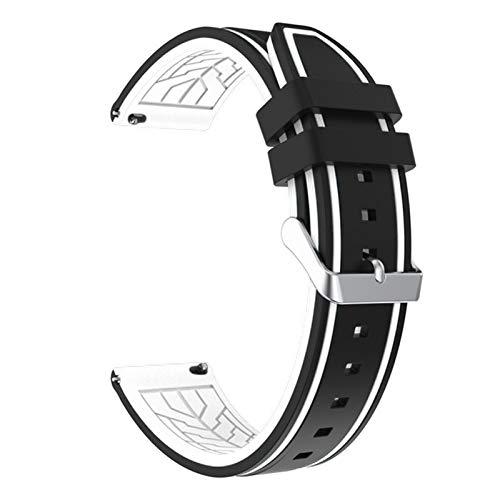 JJBFAC Silicona Soft Sport Wamkband 20mm 22mm 24mm 26mm Buceo de Goma Hombres Impermeables Reemplazo Pulsera Banda Correa Reloj Accesorios (Band Color : Black White 02, Band Width : 20mm)