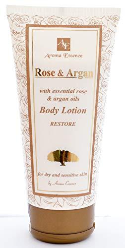 ARGAN und ROSE Körperlotion Haut Stellen Sie, die Körpermilch für geschmeidige, weiche und glatte Haut wieder her, Parabenfreie beruhigende Feuchtigkeitscreme, Tattoocreme, 200 ml