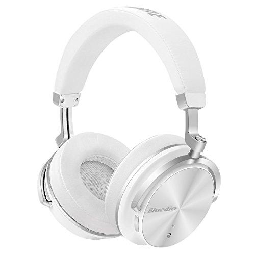 Bluedio T4 (Turbine) Auriculares Bluetooth Giratorios con cancelación Activa de Ruido y micrófono (Blanco)