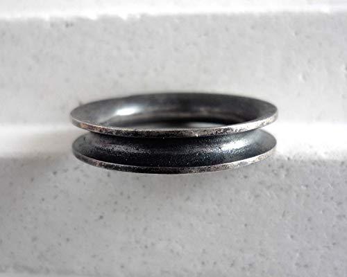 Anillo artesano plata negra forma curvada - 4 mm