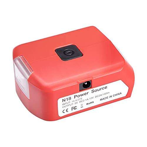 Adaptador M18 para Milwaukee adaptador con luz LED de 3 W, linterna de trabajo, cargador de teléfono móvil dual USB DC 12 V salida 5 V 2.1 A/12 V 2 A