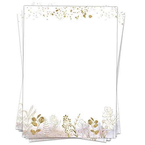 50 Blatt Briefpapier (A4)   Eucalyptus rosa mit Gold-Look   Motivpapier   edles Design Papier   beidseitig bedruckt   Bastelpapier   90 g/m²