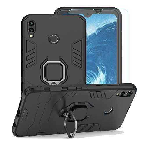 Strug for Huawei Honor 8X Max/Enjoy Max Case,[Tempered Glass Screen Protector] Hybrid Heavy Duty Protection Shockproof Kickstand Armor Case Cover for Huawei Honor 8X Max(Black)