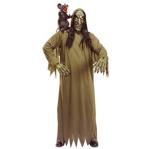Amakando Disfraz de bruja para Halloween, disfraz de monstruo zombi, disfraz de carnaval, disfraz de magia, monstruo, disfraz de abuelo