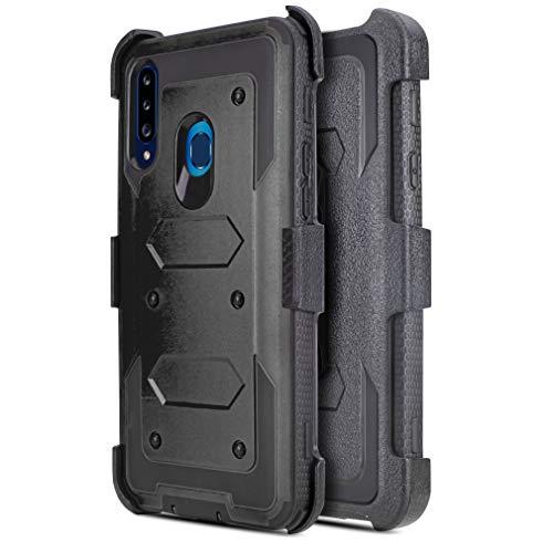 Customerfirst Schutzhülle für Galaxy A20S, mit eingebautem [Bildschirmschutzfolie], robuste Ganzkörper-Hülle mit Holster & drehbarem Gürtelclip, Ständerfunktion, Schwarz