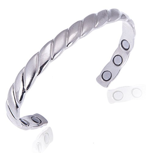 Earth Therapy, The Original Copper Magnetic Healing Bracelet for Arthritis, Carpal Tunnel, and Joint Pain Relief – Silver-Plated Braided Style – Adjustable - For Women