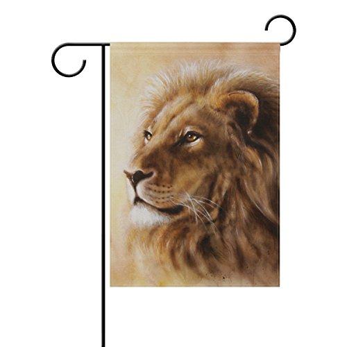 COOSUN Airbrush Schilderij Van Leeuw Hoofd Met Majestueuze Vredige Expressie Polyester Tuin Vlag Outdoor Vlag Thuis Party Tuin Decor, Dubbelzijdig, 28