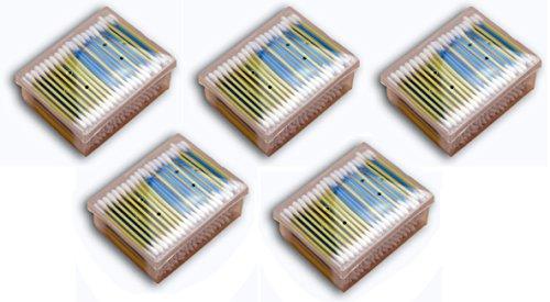 Wattestäbchen 1000 Stück (5 x 200 Stück) zur Ohrenpflege Watteträger 100% Baumwolle bei 7,5 cm Länge