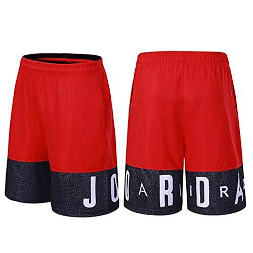 HEJX Basketball-Shorts Jordan Elite atmungsaktive und schnell trocknende Trainingsshorts für Männer und Frauen, Kinder Red-M