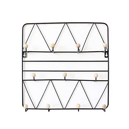 BoBoU Perchero de pared hecho a mano de alambre de metal y madera, fácil montaje en pared con o sin taladrar