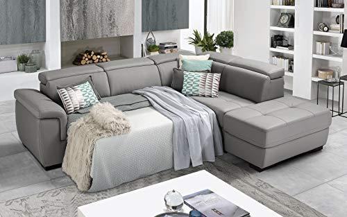 Dafne Italian Design - Sofá cama esquinero de 3 plazas con chaise longue a la derecha, piel sintética gris Ash (287 x 245 x 98 cm)