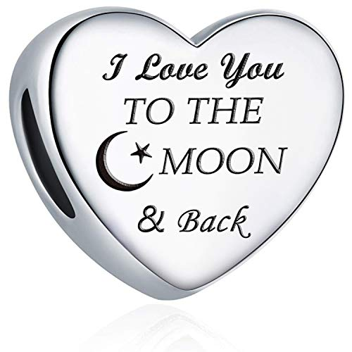 Charm Fit Pandora Charms Bracelet I Love You to The Moon and Back Love Heart Charms Birthday Gift Jewellery (Moon & Back)