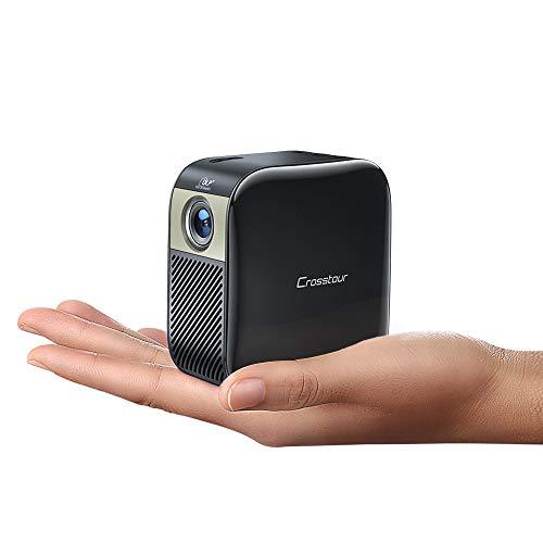 Crosstour Mini Beamer, Full HD 1080P Projektor DLP Taschen Video Beamer für 3000 mAh Außen Batterien Unterstützt Heimkino Projector für HDMI/Laptop/iOS/Android