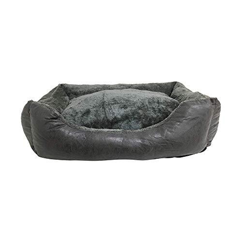 BRAVO. Cama para Perros. Colchón Rectangular Acolchado con Bordes Salientes de Color Gris Oscuro y Pelo Interior Muy Suave para Perros Pequeños, Medianos y Grandes. (Tallas S,M, L). (S-60x45cm)