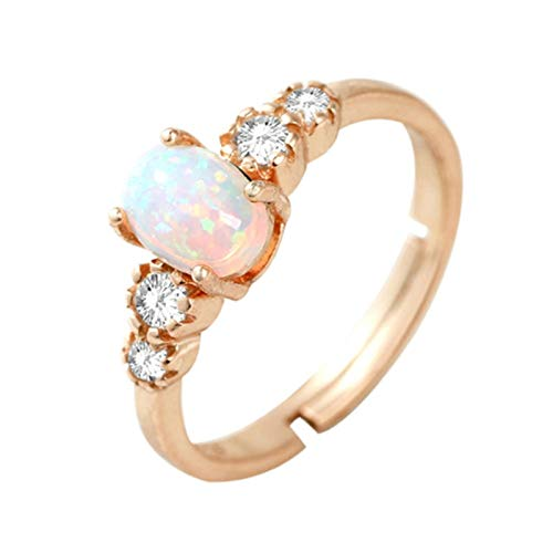 Clavie Promise Ring for Girlfriend 5 Stones 0.4ct Opal Cubic Zirconia 18K Yellow Gold Size R 1/2