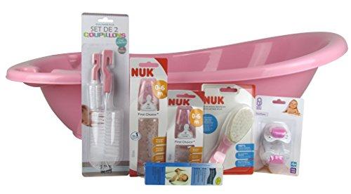 Baby Set / Starterset für Babys / 7 teiliges Set für Neugeborene / Geschenkset mit Babybadewanne, Fieberthermometer, Flaschenbürsten, Trinkflaschen, Haarbürste, Schnuller (Mädchen)