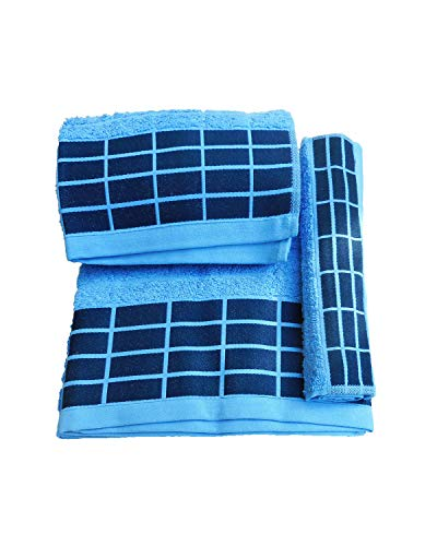Portugal Juego Toallas 3 Piezas. 100% algodón Densidad 520 gr/m2. Azul.