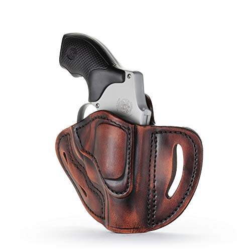 1791 GUNLEATHER J-Frame Revolver Holster - OWB CCW Holster - Right Handed Leather Gun Holster for Belts - Fits All J-Frame Revolvers Including S&W and Ruger LCR not Taurus (Vintage)