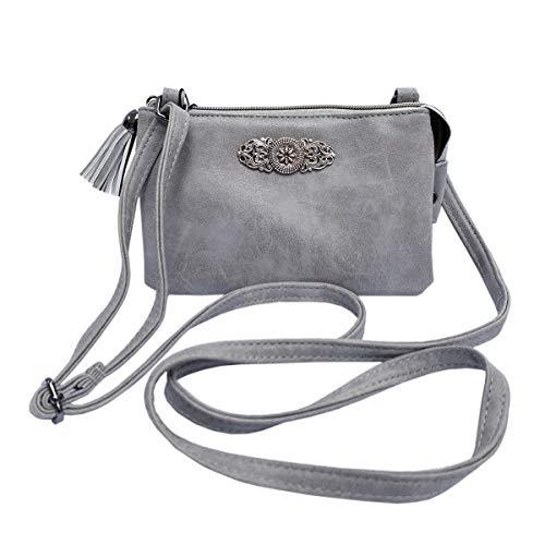 Trachtentasche Dirndltasche kleine Umhängetasche Kunst-Leder grau