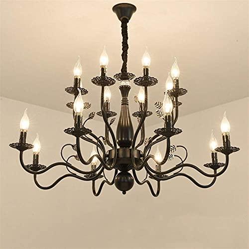 Illuminazione a sospensione per interni 16 luci vintage americane candela persiano nero bronzo E27 luce in ferro regolabile altezza retrò classico elegante pendente per soggiorno dinin