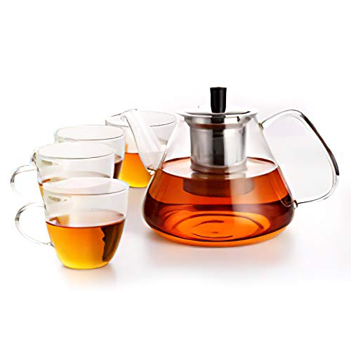 Homfa Teekanne 1350mL Tee-Set mit 4 Gläsern Teebereiter Hitzebeständig Glas Transparent Glatt TeaPot aus Borosilikatglas Beheizbar Glaskanne mit Siebeinsatz Edelstahl