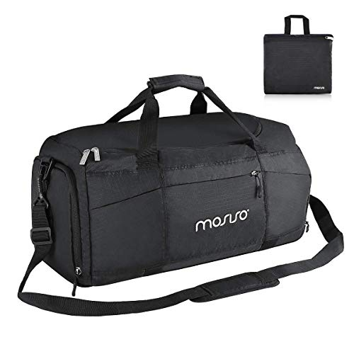MOSISO 45L Sport Gym Tas reistas Waterdichte bagage organisator weekends overnachtingszak lichtgewicht sporttassen met schoenenvak en achterriem voor trolley box, zwart