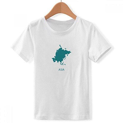DIYthinker jongens Azië continent contour silhouet kaart met ronde hals wit T-shirt