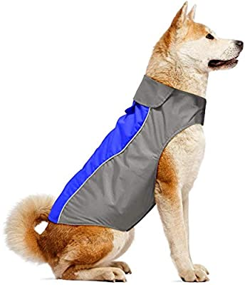 Iseen Dog Raincoat Waterproof Windproof Dog Coat Jacket Reflective Pet Vest with Soft Fleece Lining Cold Weather Dog Apparel Clothing for Small Medium Large Dogs (XXL, Blue)