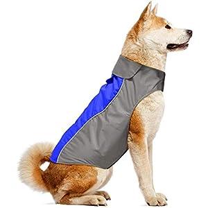 Ezer Dog Raincoat Soft Fleece Lining Reflective Dog Jacket Outdoor Waterproof Sports Dog Coat for Small,Medium,Large Dogs Rain Poncho S- XXXL