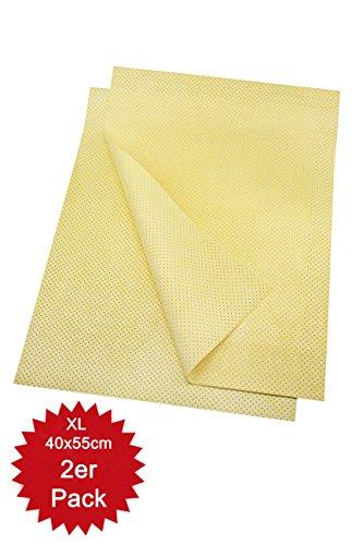 HELOME 2 Stck - Saugstarkes Microfaser-Ledertuch für Auto, Küche, Bad/WC - Autotuch zum Abtrocknen nach Autowäsche - ideal für Oberflächen aus Lacken, Kunststoff, Glas und Keramik