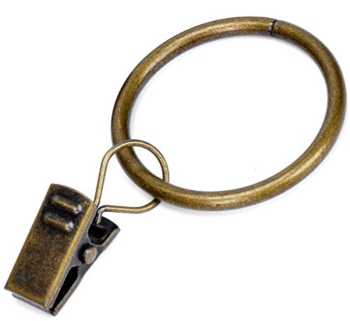"""Curtain Rings with Clip - Set of 28,Interior Diameter 1.26"""",Fits for 1-Inch Metal Rod - Antique Brass"""