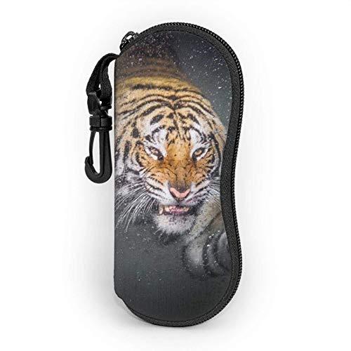 Custodia per occhiali, borsa per occhiali da vista portatile morbida e leggera per il viso della tigre, custodie per occhiali da sole in neoprene Shoproof con clip per cintura