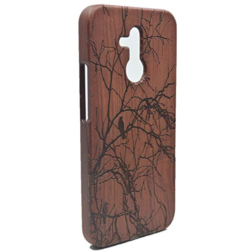 Phantom Sky Stylisch Holzschatulle Kompatibel für Huawei Mate 20 Lite, Premium Qualität Natürliche Handgemachte Stoßfestes Handyhülle Holzabdeckung Holz Schutzhülle Cover - Rosenholz Baum