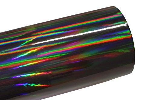 Finest Folia (19,73€/m²) Laser Hologram Chrom Schwarz Auto Folie mit Luftkanäle Holographic (Muster 10x10cm)