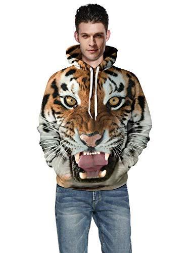 Sweats à Capuche Homme Femme 3D Casual Unisexe Pull à Manches Longues Shirts Hiver Fantaisie Hoodie Pochette - Orange - Large