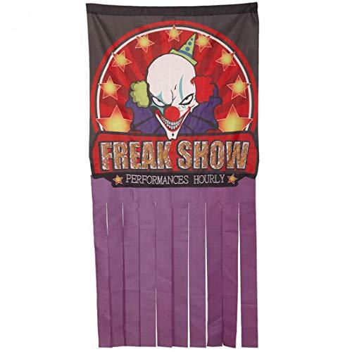 Terrorífica Cortina para la Puerta Freak Show Payaso Malvado / 158x78cm / Impactante frazada Circo de Horror/Insuperable para Fiestas terroríficas y Halloween