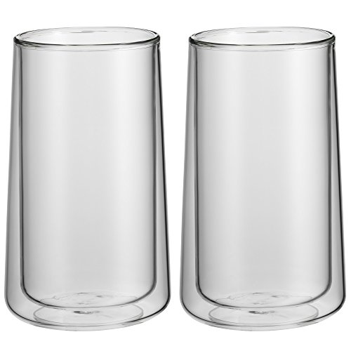 WMF CoffeeTime doppelwandige Latte Macchiato Gläser Set 2-teilig, doppelwandige Gläser 270ml, Schwebeeffekt, Thermogläser, hitzebeständiges Kaffeeglas