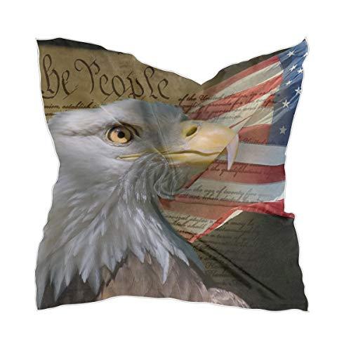 LZXO Damen Schal US-Fahne Glatze Adler Brief Quadratischer Schal Kopfschmuck Kopftuch Kopftuch Kopftuch Stirnband mit 10 x Bobby Pins – 60 x 60 cm