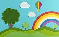 壁の壁画 壁紙 ウォールカバー 漫画の白い雲の虹の橋の緑の木 壁画 壁紙 ベッドルーム リビングルーム ソファ テレビ 背景 壁 壁面装飾のための,430x300cm