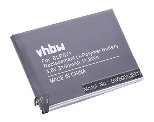 vhbw Li-Polymer batería 3100mAh (3.8V) para Smartphone, teléfono móvil, teléfono Celular OnePlus A0001, One por BLP571.