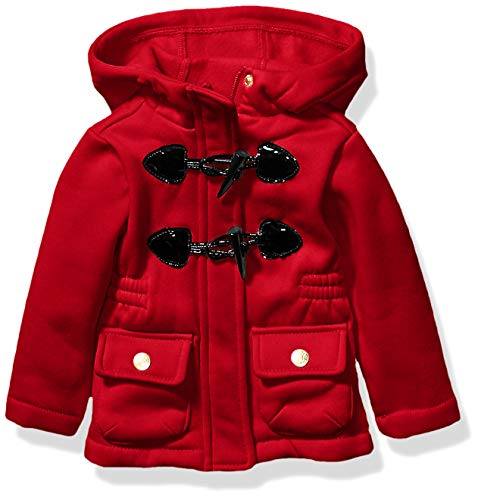 Pink Platinum Baby Girls Lightweight Fleece Toggle Coat, Red, 12M