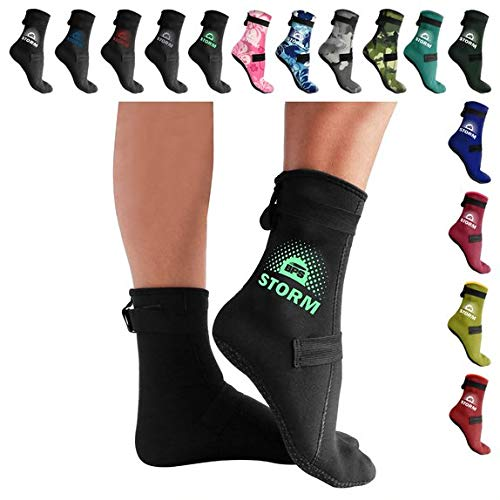 BPS 'Storm Elite Sock' 3mm Neoprene Socks - Thermal Socks with Antislip Sole - Socks for Kayaking, Beach Sports, Sand Walking, Swimming, Fin Socks - High Cut (Black/Mint Green, S)