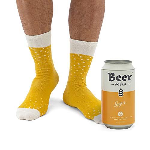 Luckies of London Soup Socks - Calzini da uomo colorati e divertenti con fantasia 'birra' in morbido misto cotone - Calzini particolari in lattina di birra - Lager bionda